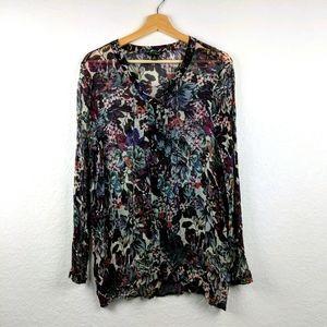 Lucky Brand Semi Sheer Floral Long Sleeve Top XL